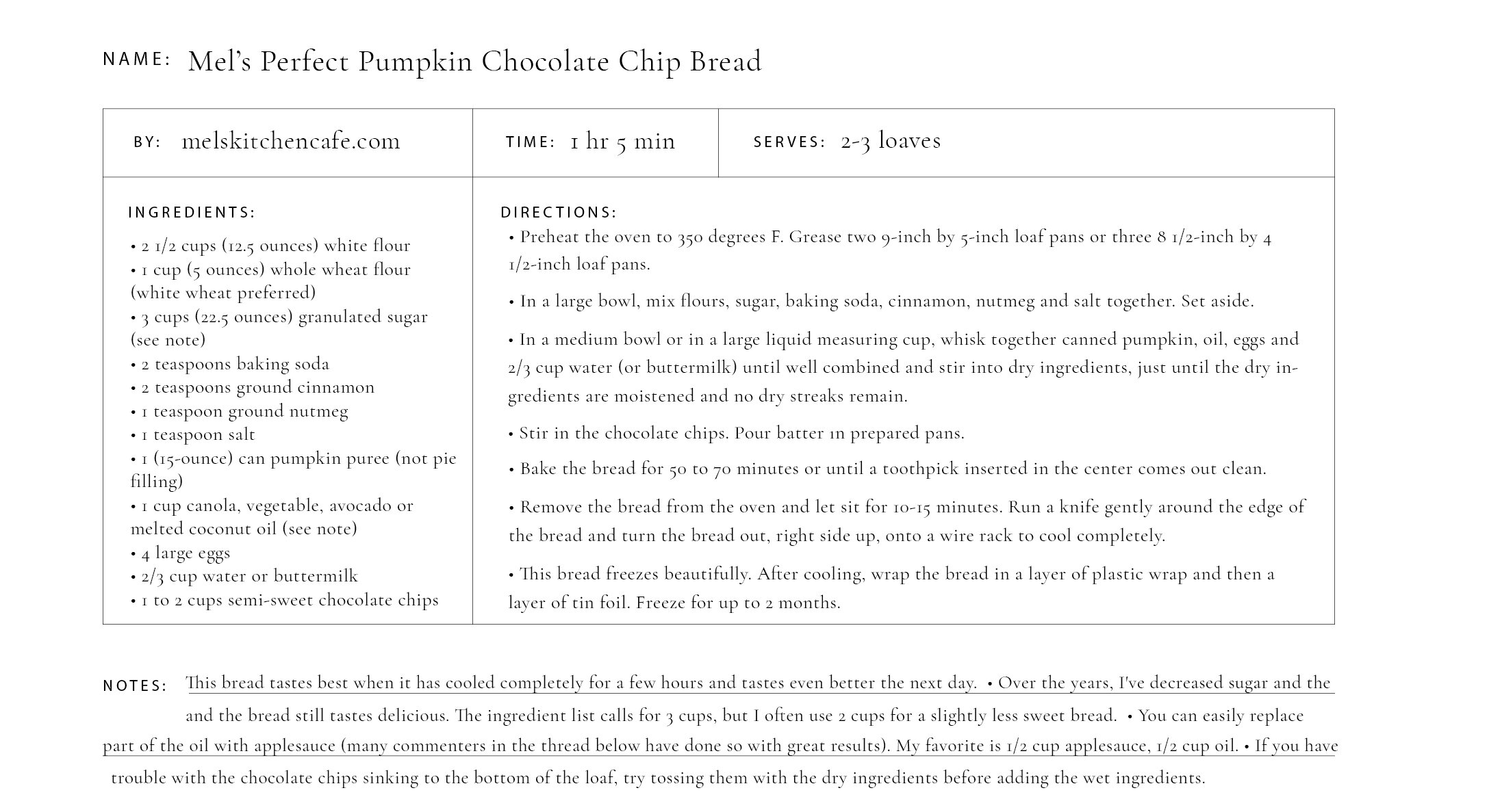 Downloadable Recipe Card of Mel's Perfect Pumpkin Chocolate Chip Bread for your Golden Coil customizable planner