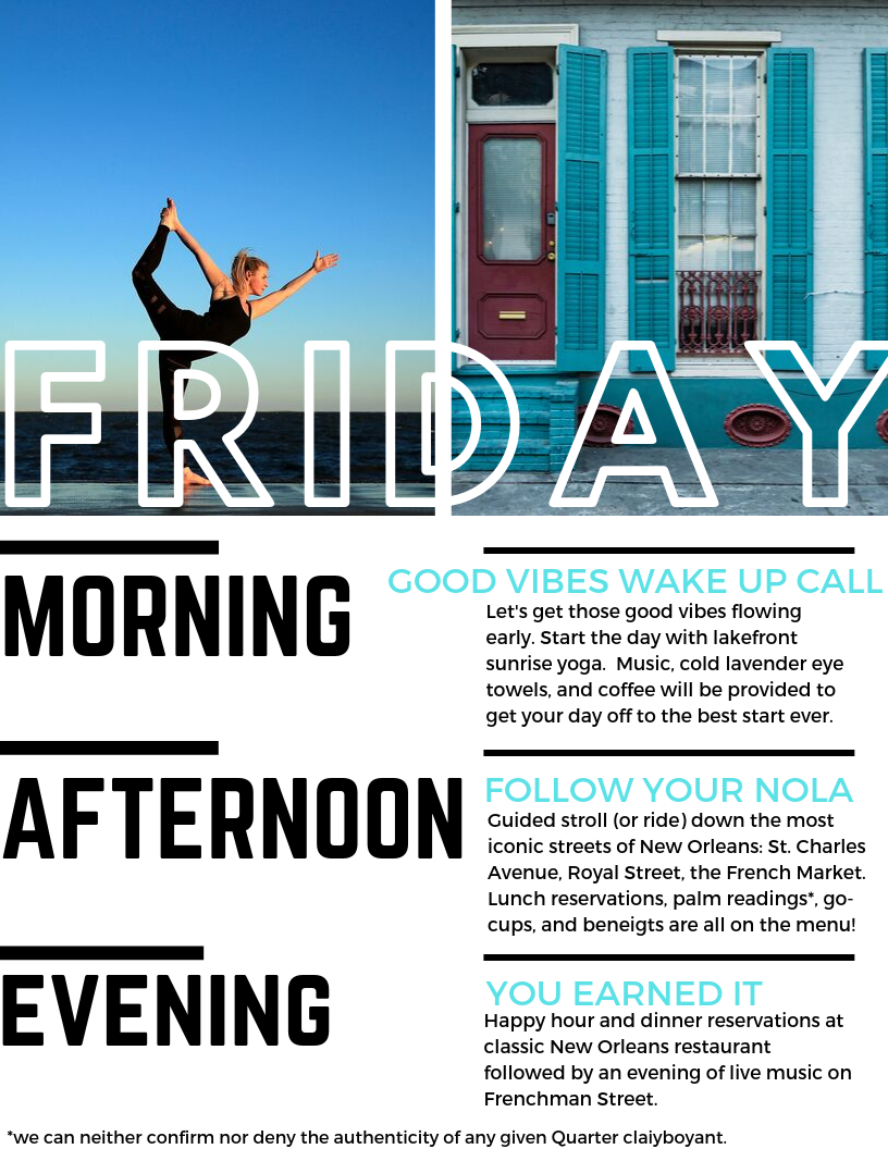 New Orleans Yoga Retreat: Friday Schedule