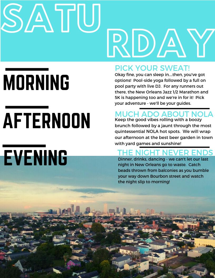 New Orleans Yoga Retreat: Saturday Schedule