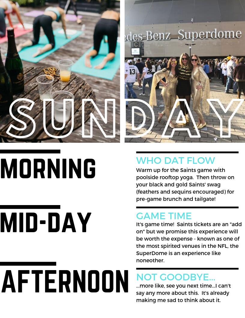New Orleans Yoga Retreat: Sunday Schedule