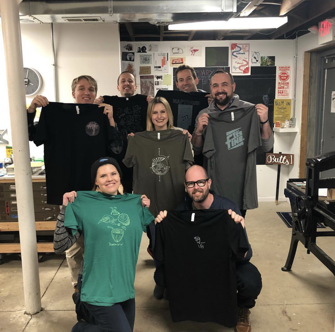 Salesforce creative team printed custom t-shirts during their workshop