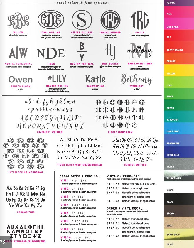 Vinyl Colors & Font Options