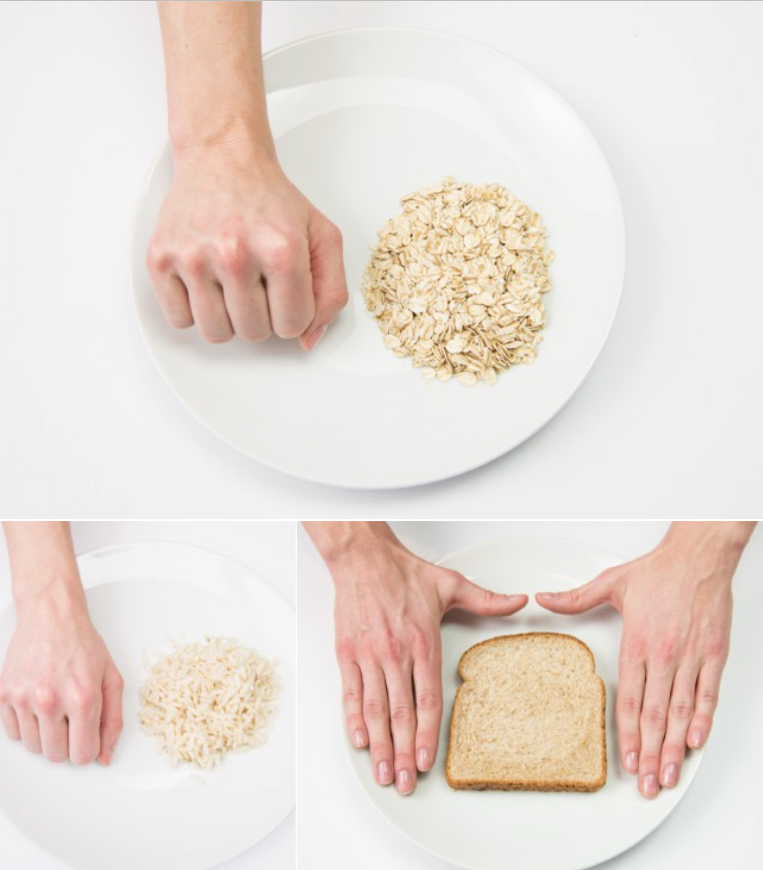 hand portions grains and rice