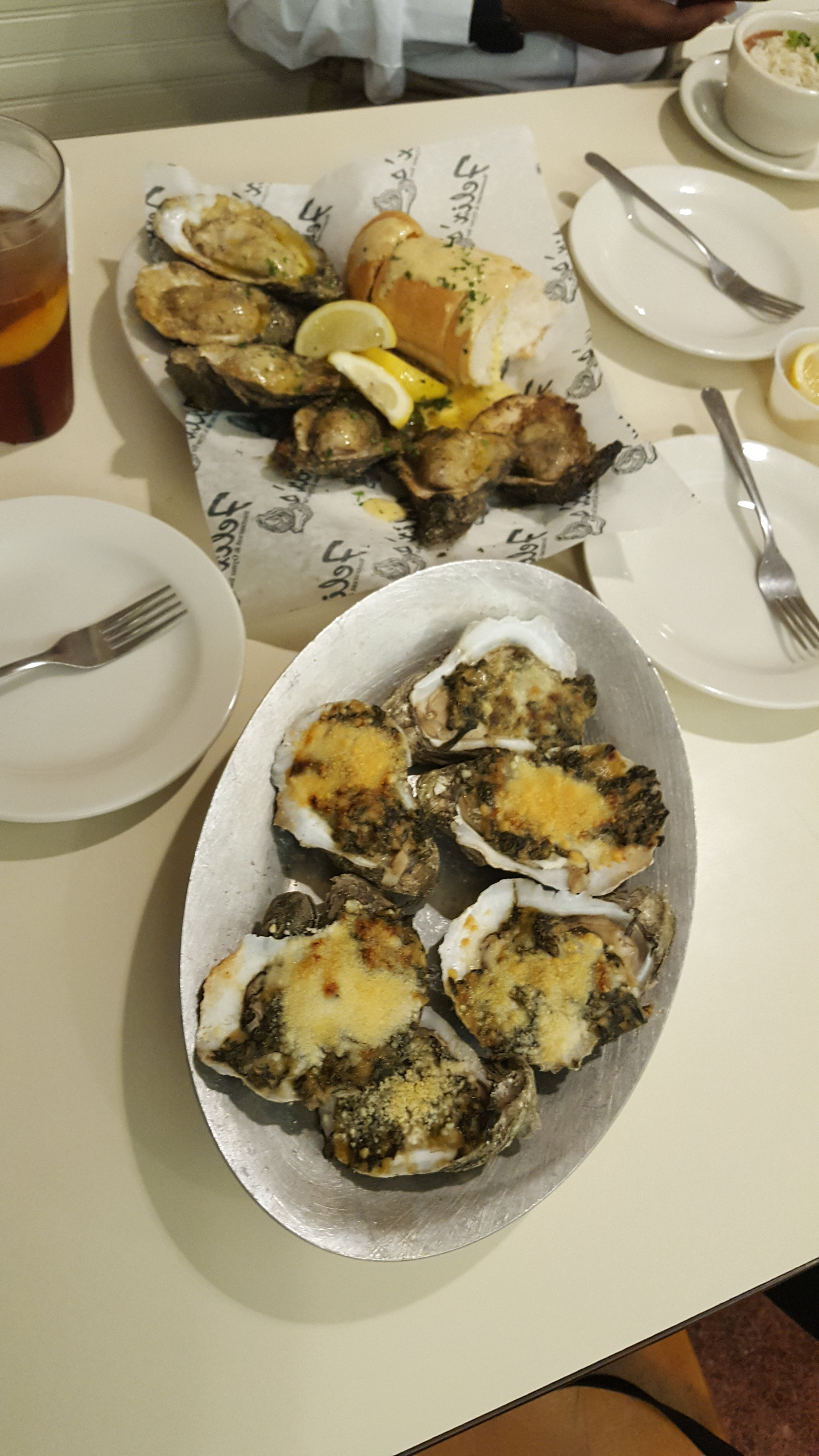 Charbroiled Oysters and Oysters Rockefeller while in New Orleans