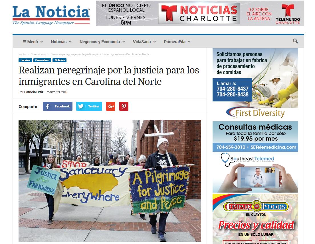 Screenshot-2018-7-5 Realizan peregrinaje por la justicia para los inmigrantes en Carolina del Norte - La Noticia.png