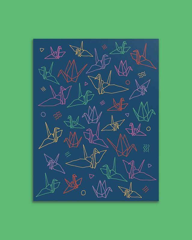 New origami crane card! 折り鶴のカードを作ってみました💫