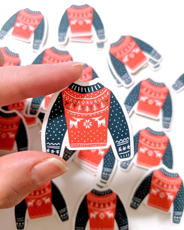 New stuff coming soon for the holiday season! Here's a sneak peak of the sweater sticker collection ⛄