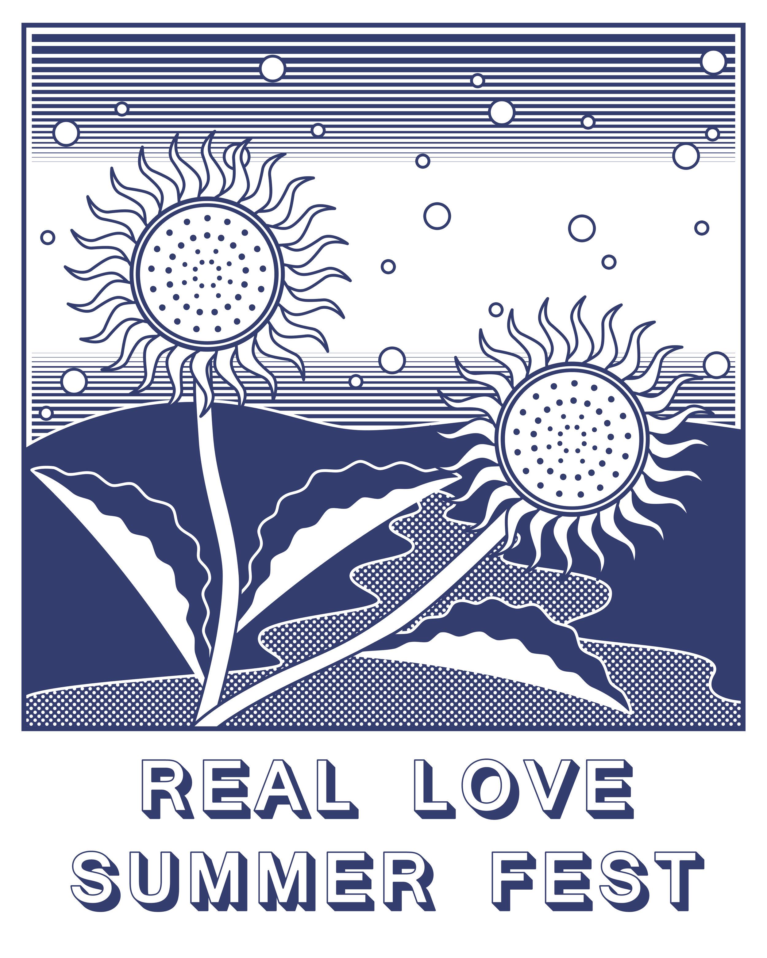 T-shirt design for Real Love Summer Fest