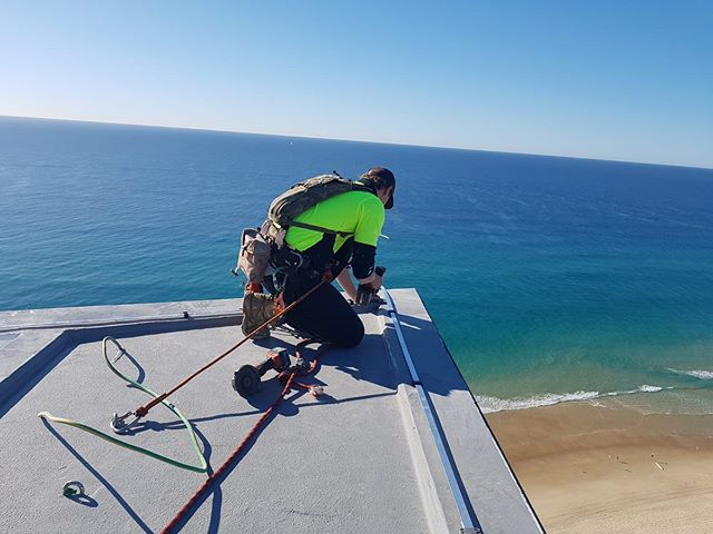 Installation of lightning protection straps ⚡️ #ropeaccess #goldcoast