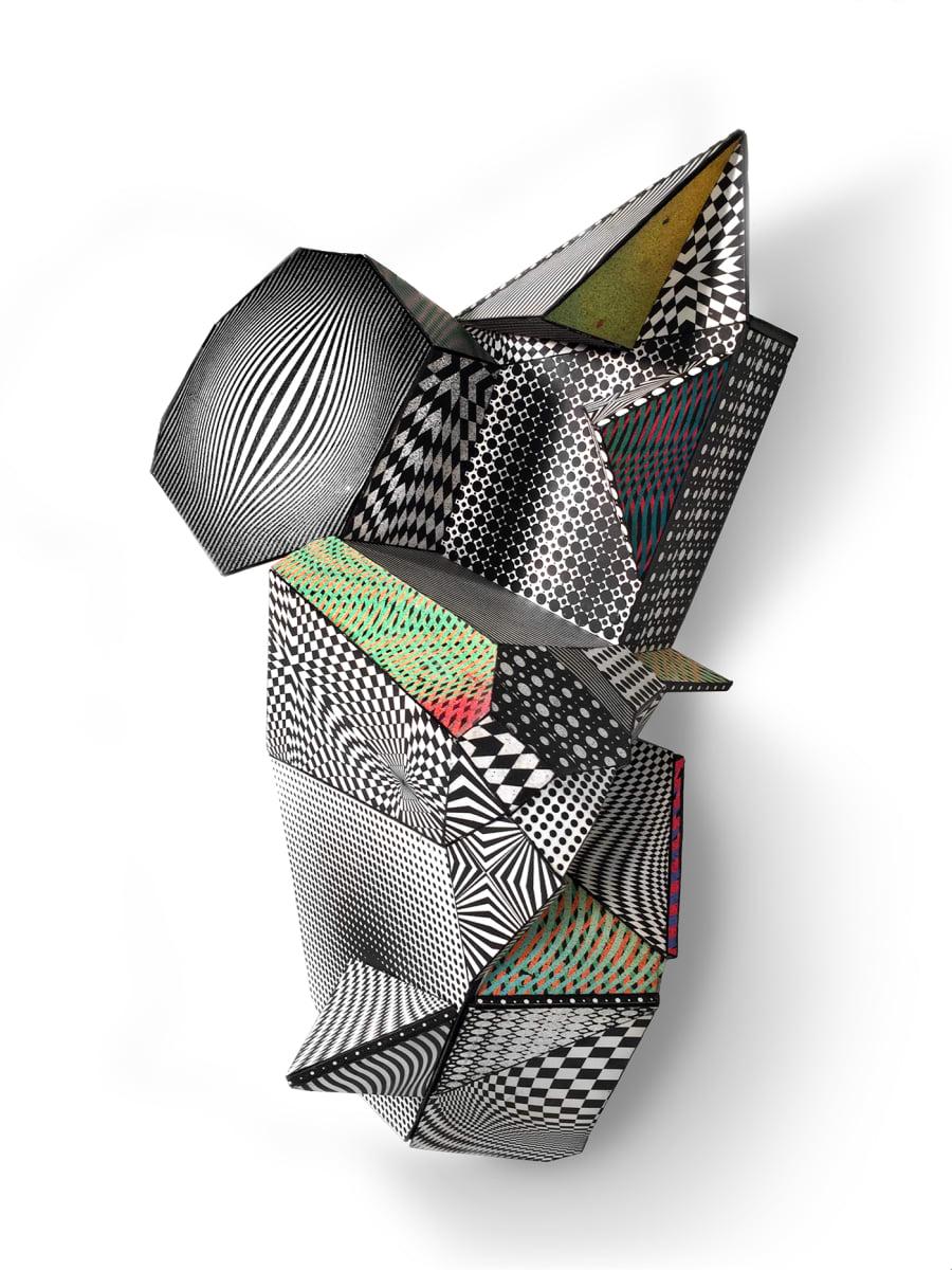 Nancy Baker_geometric optical abstract wall sculpture