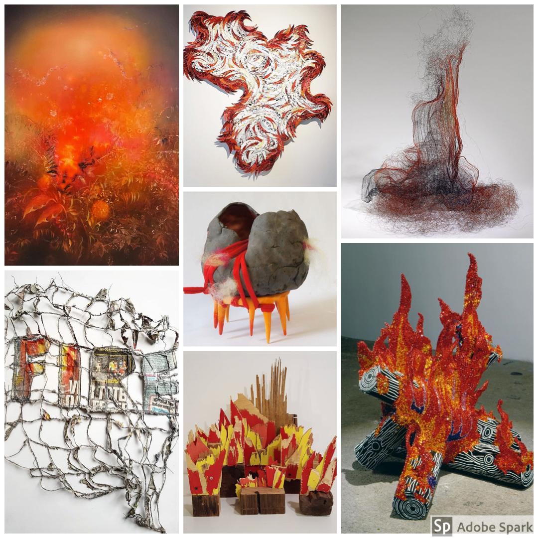 Linda Larson, Deborah Kruger, Natalie Moore, Ines Seidel, Malin Abrahamsson, Abby Goodman and Liza Lou - fire themed artworks