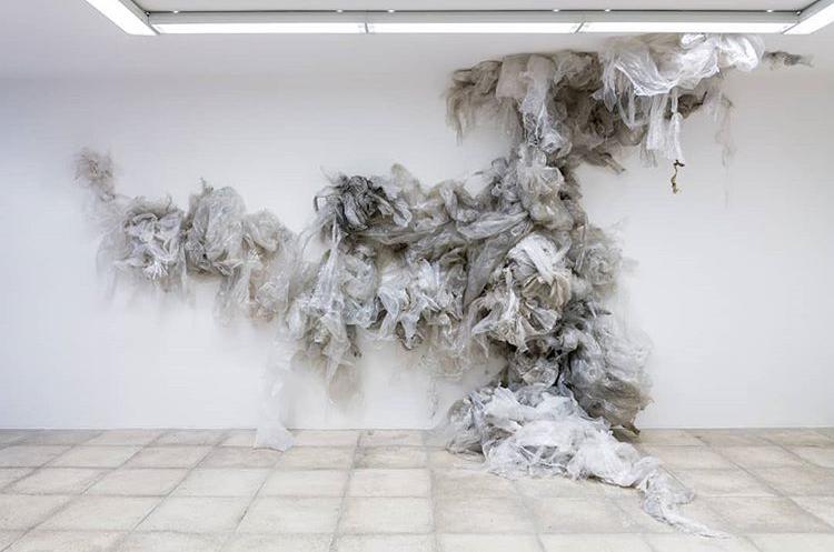 Tatiana Wolska - found plastic drawing/installation