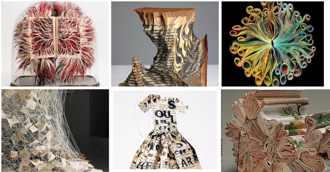 Library of Book Art - select images that were featured in Instagram Stories  Georgia Russell, Jessica Drenk, Cara Barer, Chiharu Shiota, Lesley Dill, Jaqueline Rush Lee