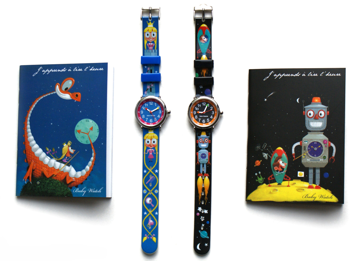BABY WATCH      Illustrations for two watches and book covers to teach children how to tell time.