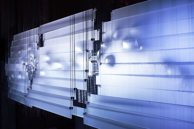 Sinusoid  Audiovisual Light Installation, 2015 Concept,Design and Construction :Buşra Tunç Sound and Motion Design :Candaş Şişman WAVES Exhibition, BLOK ART SPACE Curation: Ebru Yetiskin