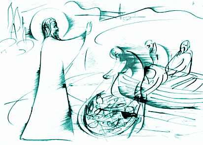Lk 5,1-11. Amikor egyszer a sokaság Jézushoz tódult, és hallgatta Isten igéjét, ő a Genezáreti-tó partján állt. Meglátott két hajót, amely a part mentén vesztegelt; a halászok éppen kiszálltak belőlük, és hálóikat mosták. Beszállt az egyik hajóba, amelyik Simoné volt, és megkérte, hogy vigye őt egy kissé beljebb a parttól, azután leült, és a hajóból tanította a sokaságot. Miután abbahagyta a beszédet, ezt mondta Simonnak: Evezz a mélyre, és vessétek ki hálóitokat fogásra! Simon így felelt: Mester, egész éjszaka fáradoztunk ugyan, mégsem fogtunk semmit, de a te szavadra mégis kivetem a hálókat. Amikor ezt megtették, olyan sok halat kerítettek be, hogy szakadoztak a hálóik; ezért intettek társaiknak, akik a másik hajóban voltak, hogy jöjjenek, és segítsenek nekik. Azok pedig odamentek, és annyira megtöltötték mind a két hajót, hogy majdnem elsüllyedtek. Simon Péter ezt látva leborult Jézus lába elé, és így szólt: Menj el tőlem, mert bűnös ember vagyok, Uram! A halfogás miatt ugyanis nagy félelem fogta el őt és mindazokat, akik vele voltak; de ugyanígy Jakabot és Jánost is, Zebedeus fiait, akik Simon társai voltak. Jézus akkor így szólt Simonhoz: Ne félj, ezentúl emberhalász leszel! Erre kivonták a hajókat a partra, és mindent otthagyva követték őt.