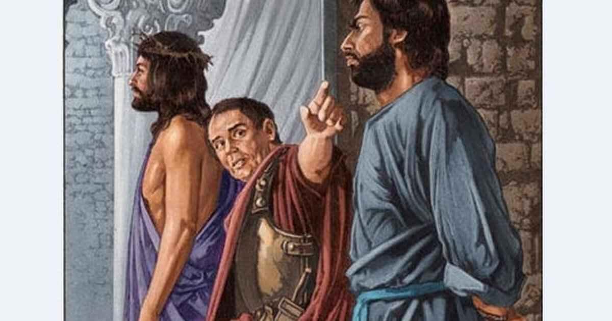 """Mt 27,15-26.  Ünnepenként a helytartó szabadon szokott bocsátani a sokaságnak egy foglyot, akit ők kívántak. Volt pedig akkor egy nevezetes foglyuk, akit Barabbásnak hívtak. Amikor tehát összegyűltek, Pilátus ezt kérdezte tőlük: """"Mit akartok, melyiket bocsássam nektek szabadon: Barabbást vagy Jézust, akit Krisztusnak mondanak?"""" Tudta ugyanis, hogy Jézust irigységből szolgáltatták ki neki. Mikor pedig a bírói székben ült, felesége ezt üzente neki: """"Ne avatkozz ennek az igaz embernek a dolgába, mert sokat szenvedtem ma álmomban miatta."""" A főpapok és a vének azonban rávették a sokaságot, hogy Barabbást kérjék ki, Jézust pedig veszítsék el. Erre a helytartó újra megkérdezte őket: """"Mit kívántok, a kettő közül melyiket bocsássam nektek szabadon?"""" Azok ezt mondták: """"Barabbást."""" Pilátus így szólt hozzájuk: """"Mit tegyek akkor Jézussal, akit Krisztusnak mondanak?"""" Mindnyájan így kiáltották: """"Feszíttessék meg!"""" Azután ezt kérdezte: """"De mi rosszat tett?"""" Azok pedig még hangosabban kiáltoztak: """"Feszíttessék meg!"""" Amikor Pilátus látta, hogy nem ér el semmit, sőt a forrongás még nagyobb lesz, vizet hozatott, megmosta kezét a sokaság szeme láttára, és így szólt: """"Ártatlan vagyok ennek az igaz embernek a vérétől. Ám ti lássátok!"""" Az egész nép így kiáltott: """"Szálljon ránk és gyermekeinkre az ő vére!"""" Akkor szabadon bocsátotta nekik Barabbást, Jézust pedig megostoroztatta, és kiszolgáltatta, hogy feszítsék meg."""
