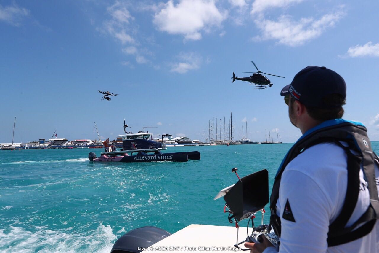 Matt Williams | MR MPW | Flying the Freefly Systems Alta 8 in Bermuda for the 35th America's Cup, alongside an H125 flown by Michael Franck of    @Eliterotorcraft   , Chicago and    @aaronfitzgerald105    of the    Red Bull Airforce   .