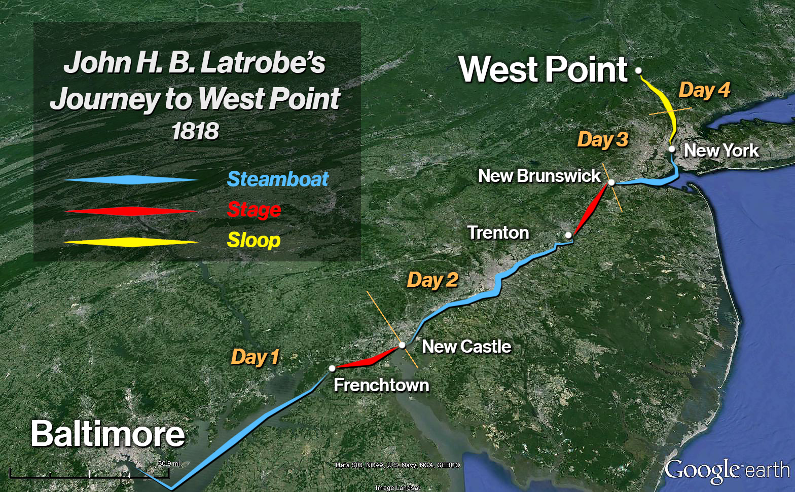New Cadet John H.B. Latrobe's Four Day Journey to West Point, 1818. Map by the Author. ©2016 ExecutionHollow.com. Basemap: Google Earth.