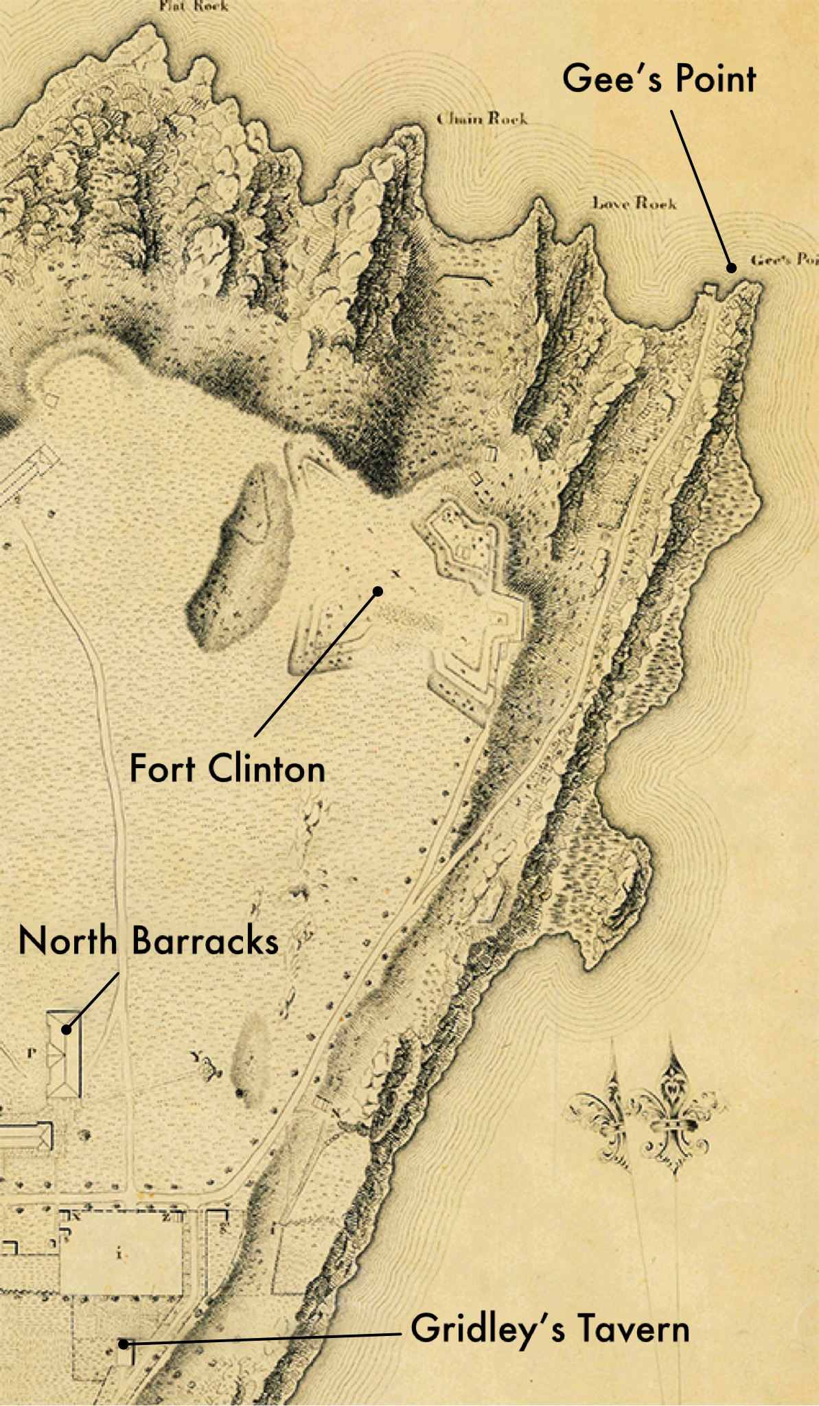 1826 Map of West Point by T.B.Brown showing the location of Gee's Point and Gridley's Tavern. Labels by Author.