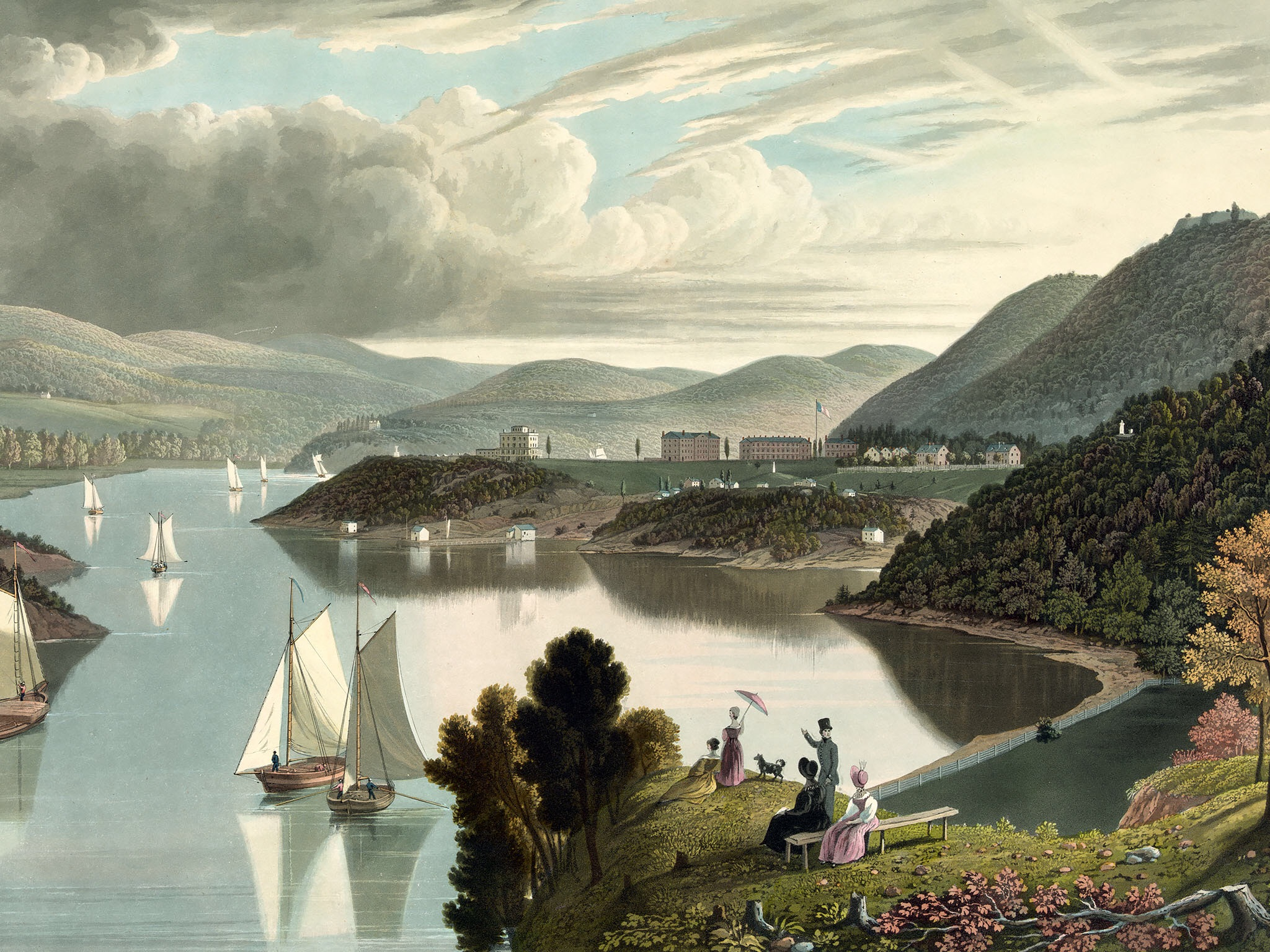 Crop of  West Point, from above Washington Valley, looking down the river,  ~1834 Source: Library of Congress.