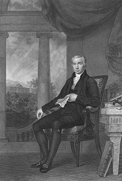 President James Monroe by C.B. King, Engraving by Goodman & Piggot. Source: Library of Congress.