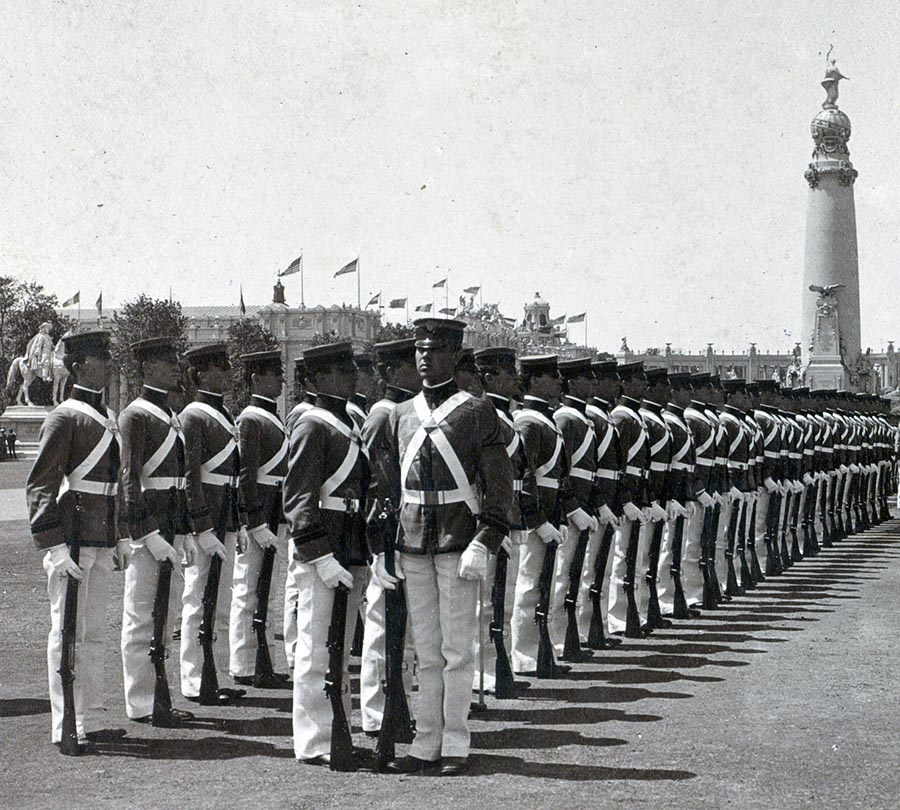 Cadets marching at the Fair. Source: Library of Congress.