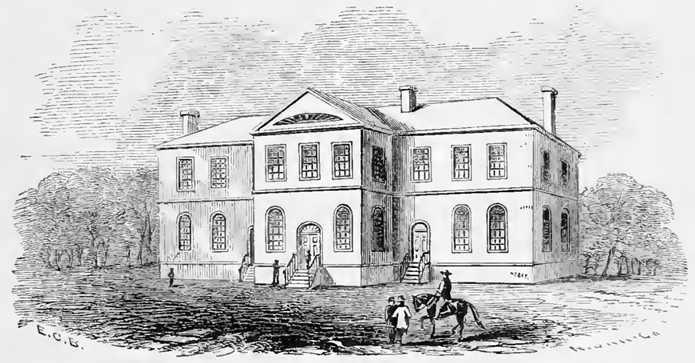 This is the Academy building, built 1815-1816. Some classes were held here, as well as religious services. It burned down in 1838.