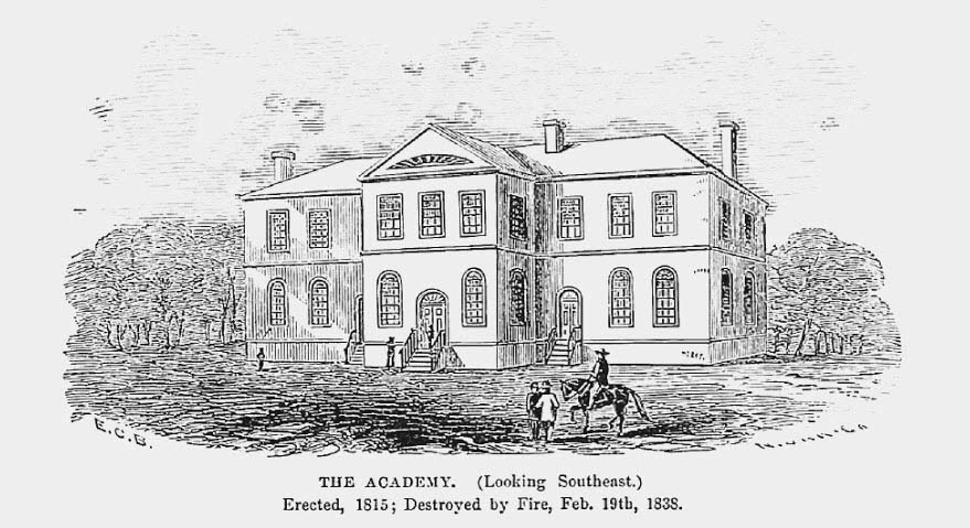 The Academy, built 1815. From Boynton, E,  History of West Point , New York:  Van Nostrand, 1863.