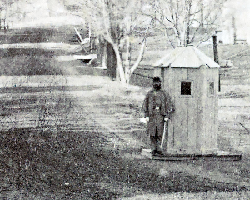 A West Point sentry in the early 1870s. It is not known if this is the site of the incident recounted here. Source: USMA Archives. Photo by Pittman.