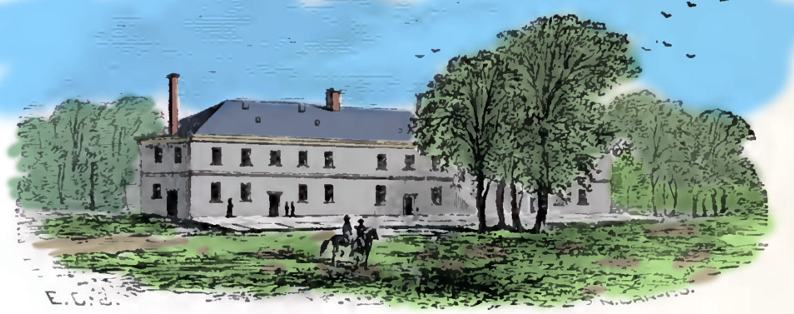 The Refectory, or Mess Hall, was a stone building completed in 1815. It was a two-story stone building. There was a bake house in the rear. Cadets ate on both floors at the left end of the building. The other end had some rudimentary lodging space for visitors. Source: Boynton, colored by author.