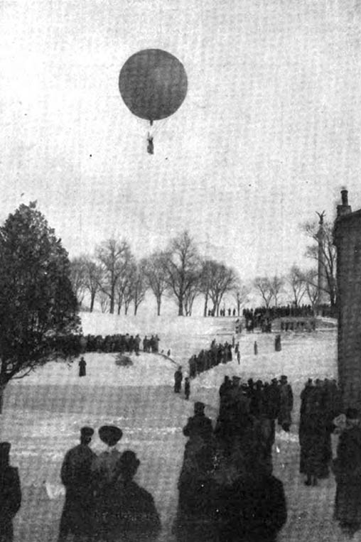 Charles Levee lifts off from West Point on 11 February 1906. The photo is taken near the corner of what is now known as the Firstie Club looking up the hill. The Battle Monument can be seen on the right side of the photo near the chimney of the building. Source:  Collier's , 24 February 1906.