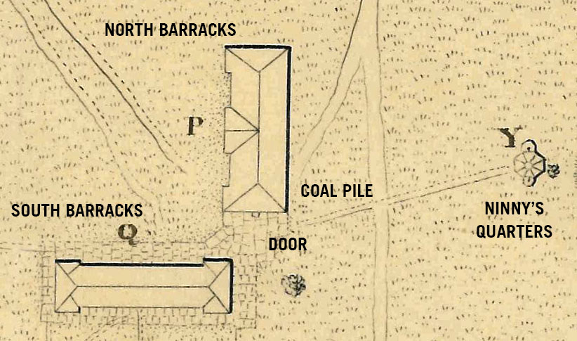 The barracks mentioned in the story were located on the Plain near the corner of the Library and Eisenhower Barracks. The North Barracks stuck out into the Plain towards what is now the baseball field. Ninny's quarters were located close to road in front of the West Point Club. Map by T.B. Brown, 1826. Annotations by the author.