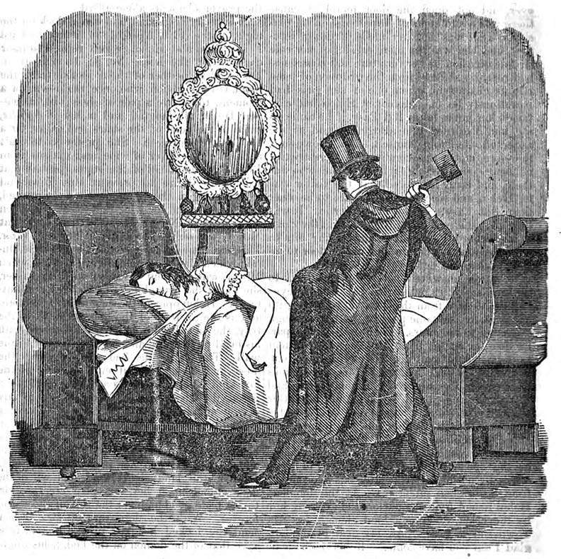 The murder of Helen Jewett as depicted in  The Lives of Helen Jewett and Richard P. Robinson  by George Wilkes, 1849.