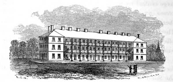 The South Barracks, where Church was housed on arrival, had 48 cadet rooms, most holding three cadets. It was a gray stone building with a slate roof and verandas on both sides. This image shows spiral staircases up the front, but these were likely added after Church's era.