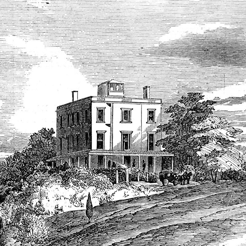 The West Point Hotel as it was depicted in an 1852 edition of  Gleason's Pictorial Drawing-Room Companion.