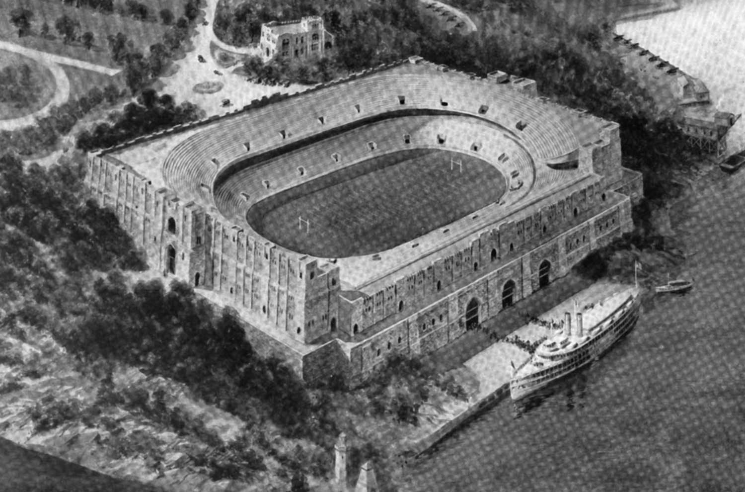 A proposed football stadium on Trophy Point, as shown in a 1922 Infantry Journal article.