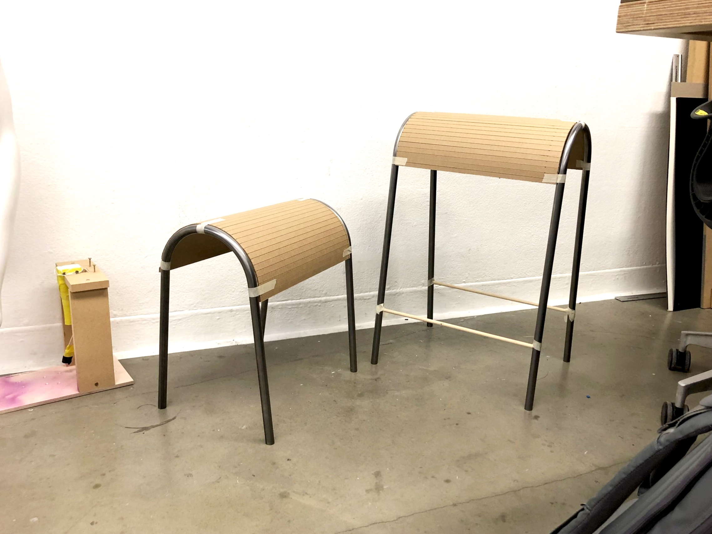 Final in-person specification check up. Used cardboard and wooden dowels to adjust proportions in person. Widened the seat portion to accommodate for more people.