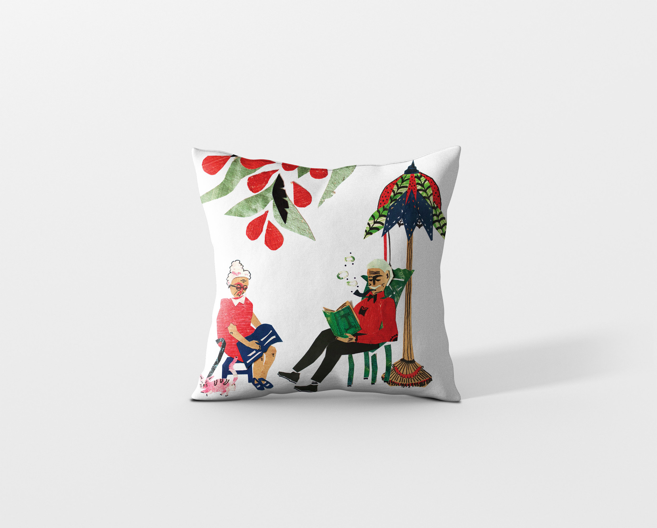 Pillowcase with illustrations digitally printed on.