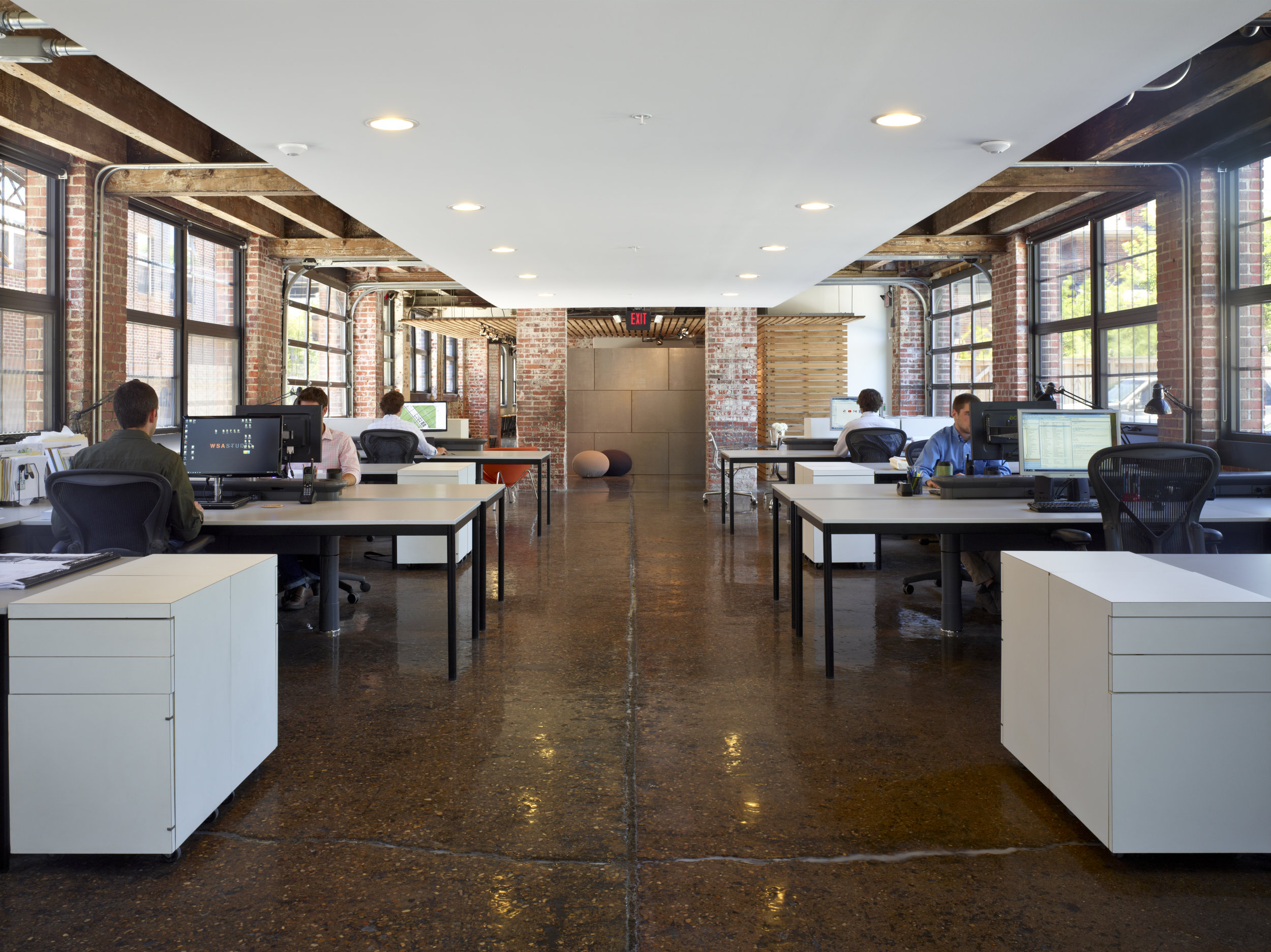 The open office at WSA Studio joins entry level and senior staff in one space.