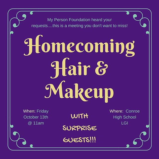 Calling ALL Conroe High School Girls!! You made the request and its here TOMORROW! Hair and makeup tutorial with a special guest!! You don't want to miss it! If you haven't signed up for MPF already, please pick up a permission form up at front desk or tiger den! Turn in SIGNED tomorrow morning! We love y'all and see y'all tomorrow 5th period! 💁🏽🐯