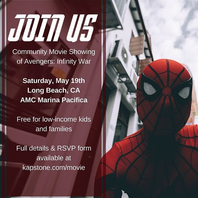 """I believe there's a hero in all of us, that keeps us honest, gives us strength, makes us noble"" - Aunt May (Spider-Man 2). . . Embrace your inner hero by joining us on May 19th and treating approximately 100 kids to the ultimate cinema experience. Full details at kapstone.com/movie. . . #avengers #infinitywar #avengersinfinitywar #marvel #spiderman #movie #communitymovienight #freemovie #donate #joinus"