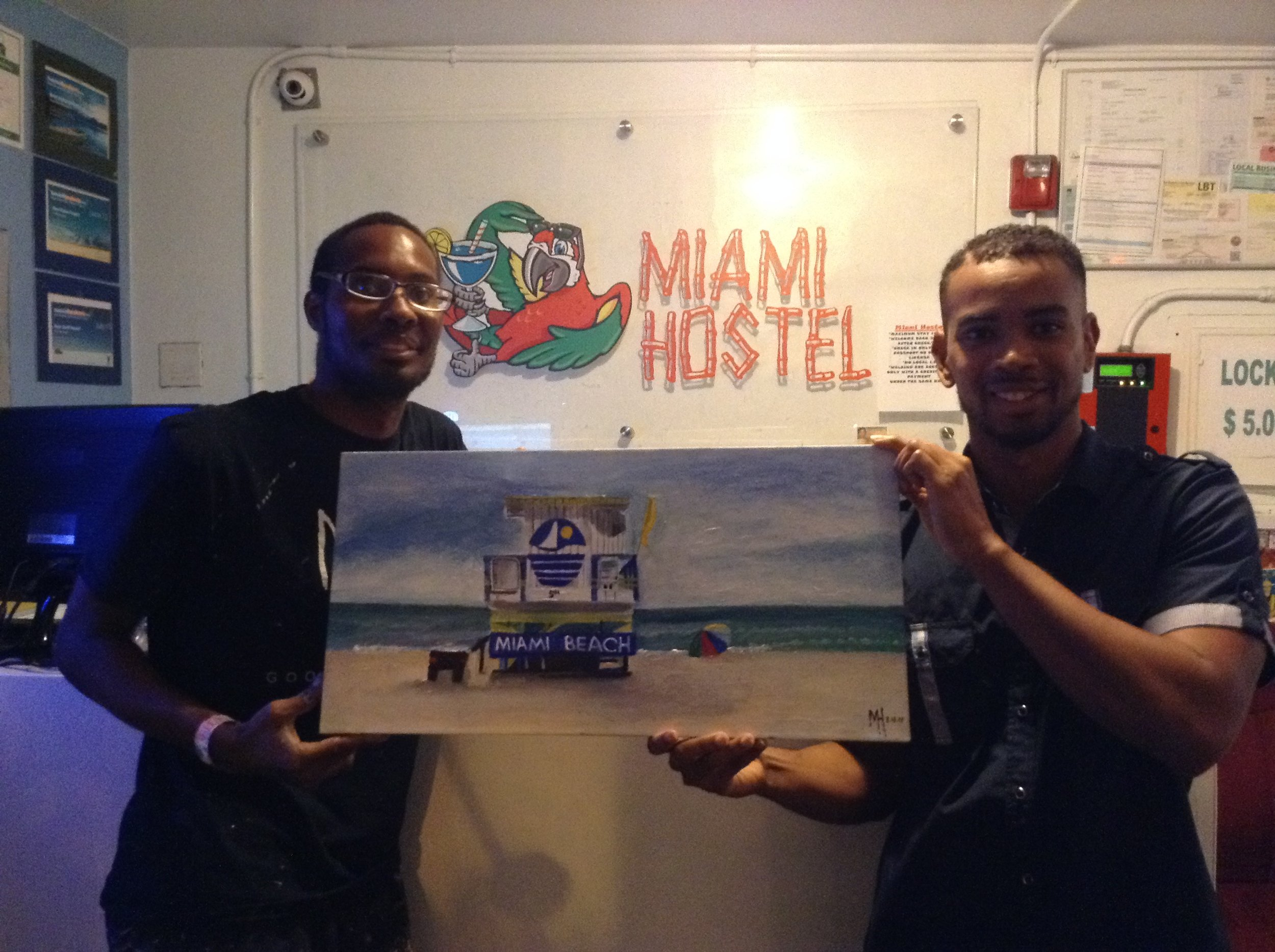 "Me and one of the employees working at the ""Miami Hostel"" want it this painting for donation to support the Miami Art District city."
