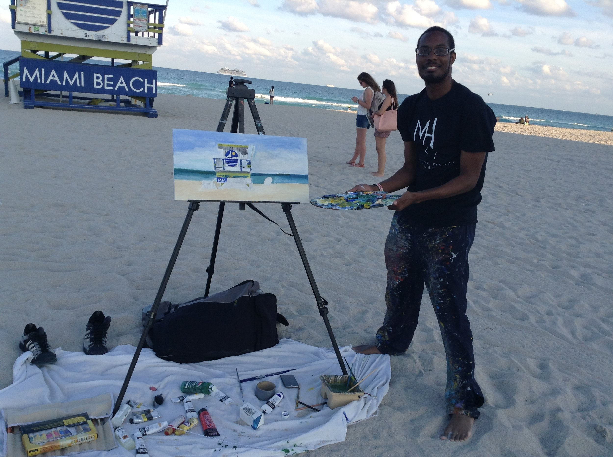 Me doing a Live Art painting of the 5th Street Lifeguard Tower on Miami Beach at Miami, FL this past weekend.