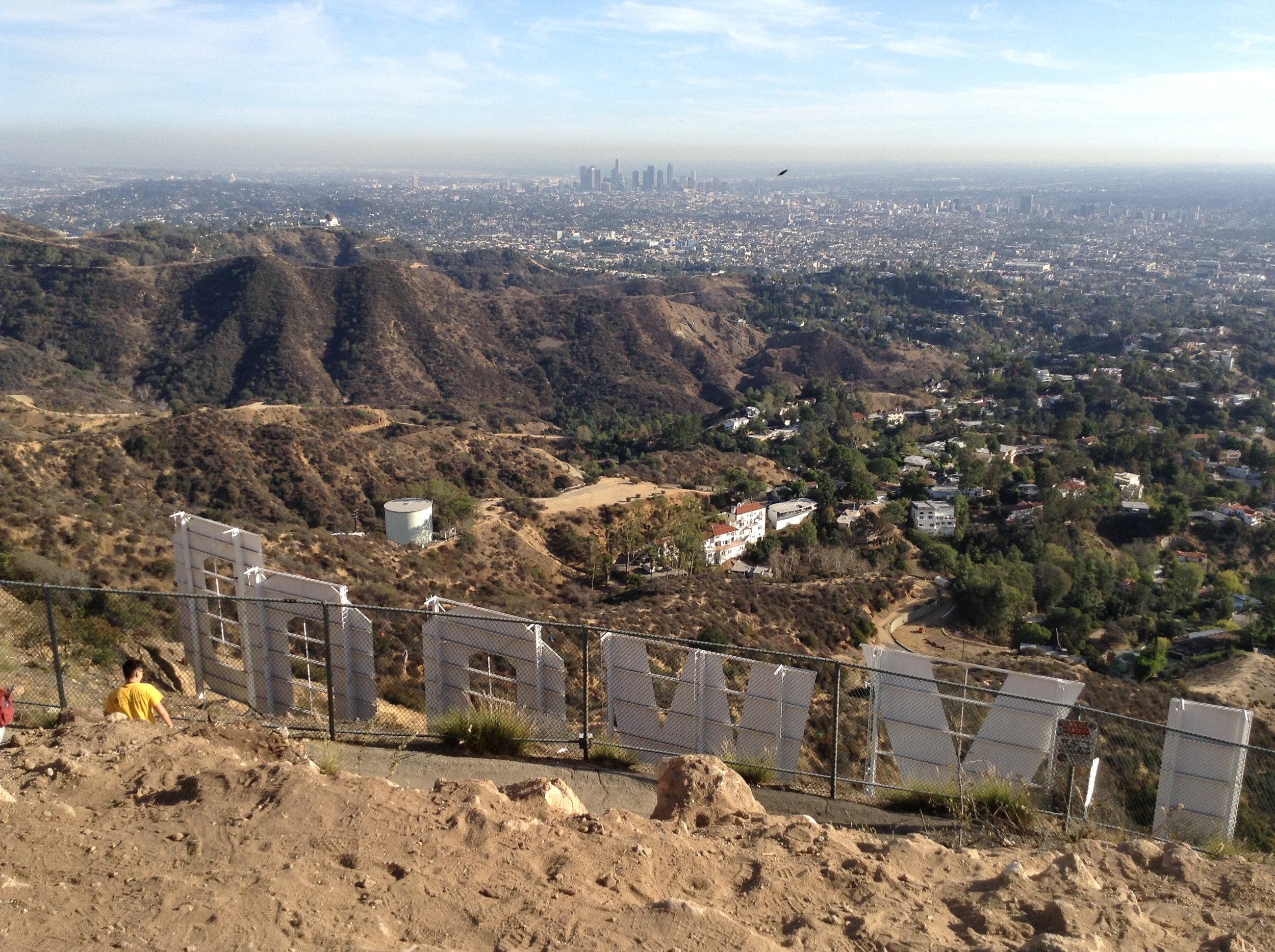 The Hollywood Sign logo skyline mountain view in LA.