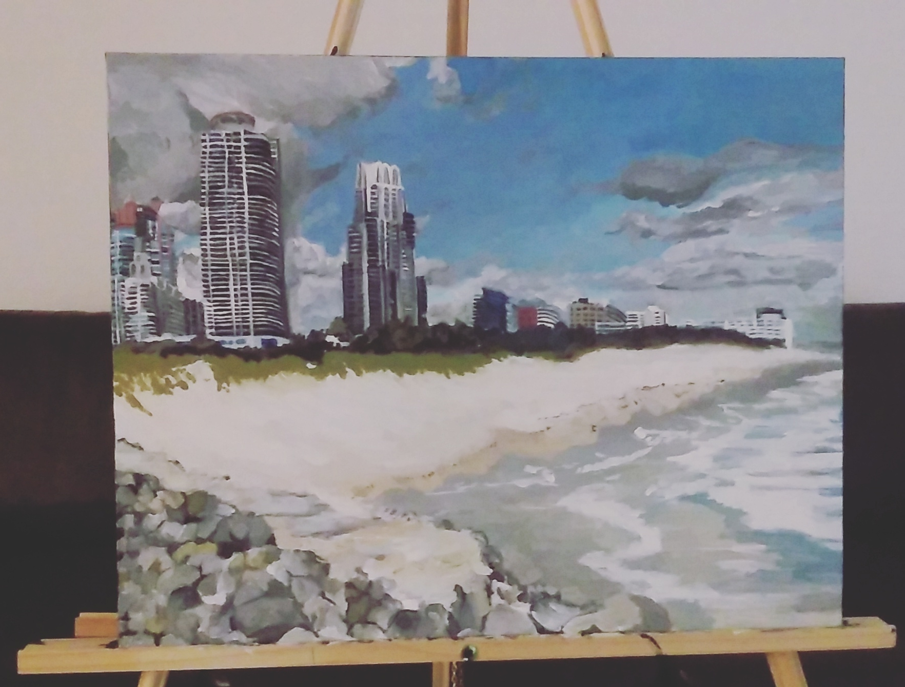 The finish Miami Beach Skyline view I did at home.