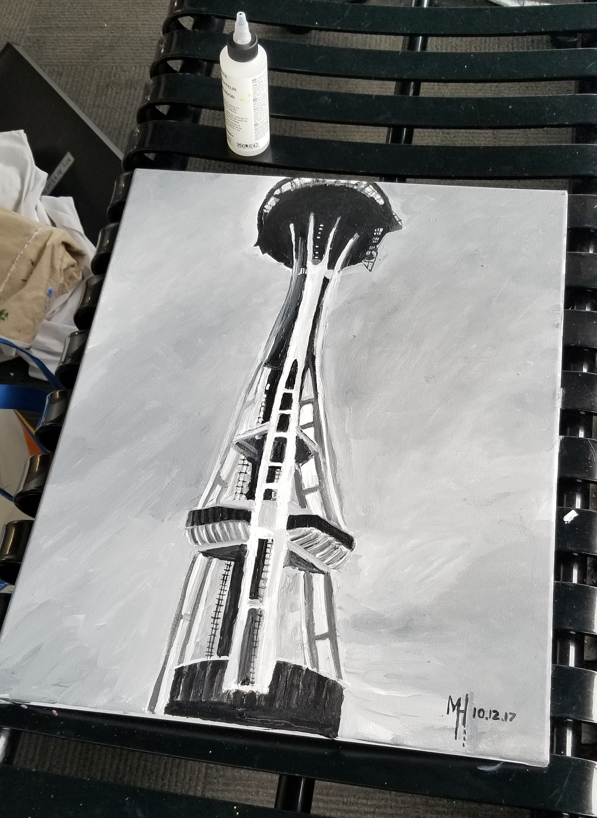 The finished product of the black and white Space Needle painting I did inside on the top deck of the tower.