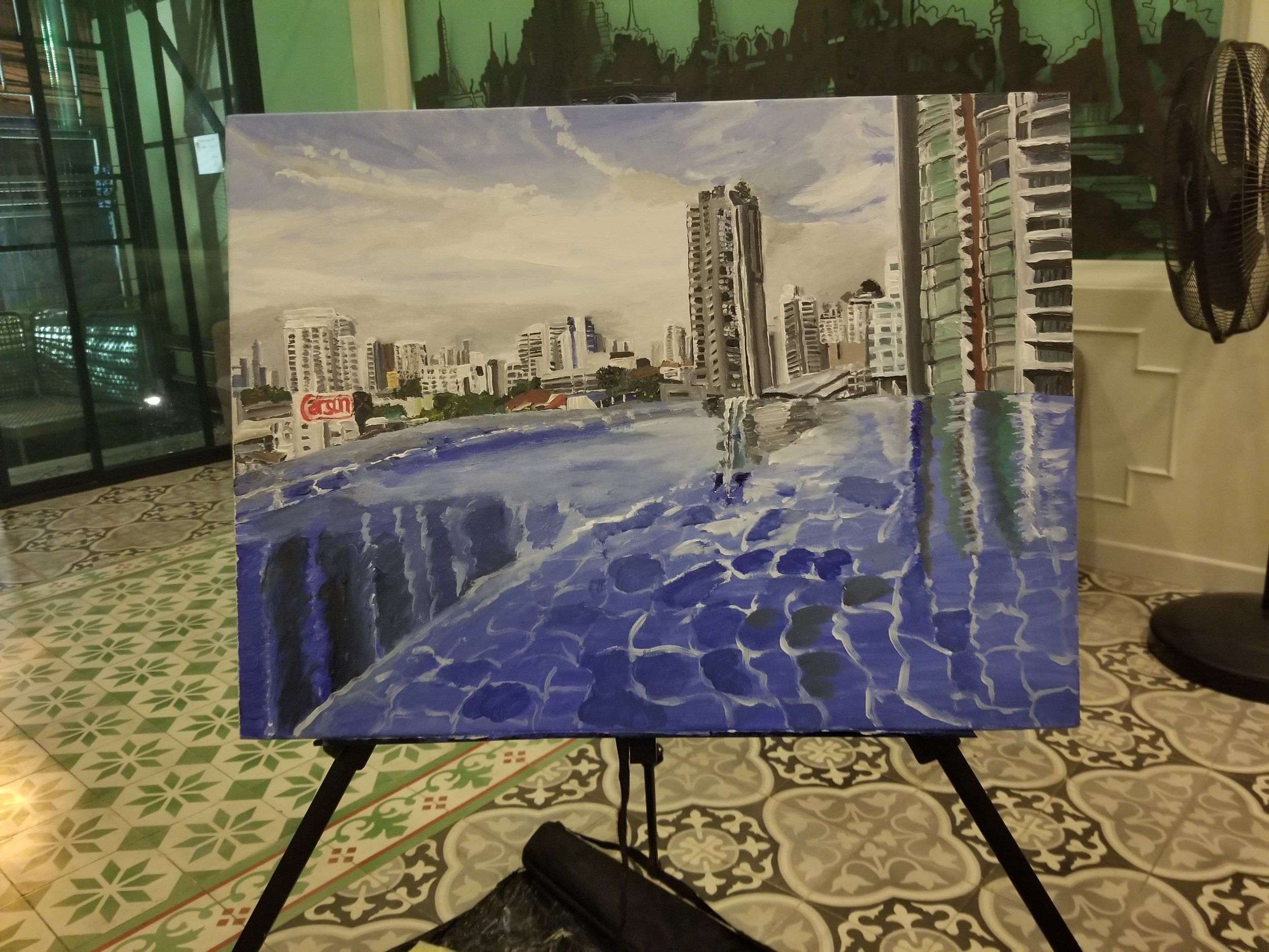 The new finish product painting of the city skyline of Bangkok, Thailand with infinity pool.
