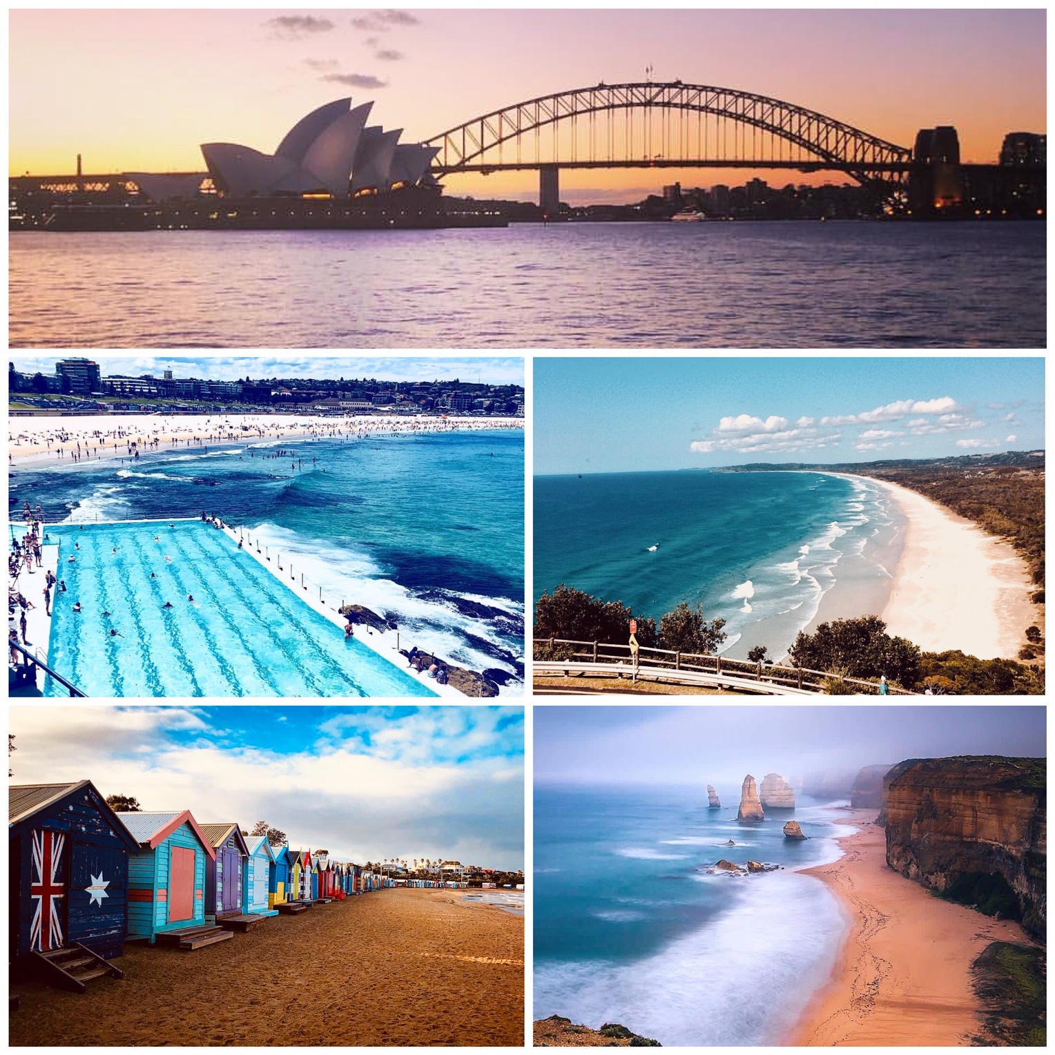 1. Sydney Opera House/Harbour Bridge Skyline waterfront view at Royal Botanic Gardens - Mrs. Macquarie's Chair Point, Sydney, Australia    2. Bondi Beach Iceberg Swimming Pool, Sydney, Australia    3. Byron Bay Beach Cliff View at Tallow Beach/Cape Byron State Conservation Area    4. Brighton Bathing Beach Boxes, Melbourne, Australia    5. The Twelve Apostles Beach View, Great Ocean Road, Victoria, Australia