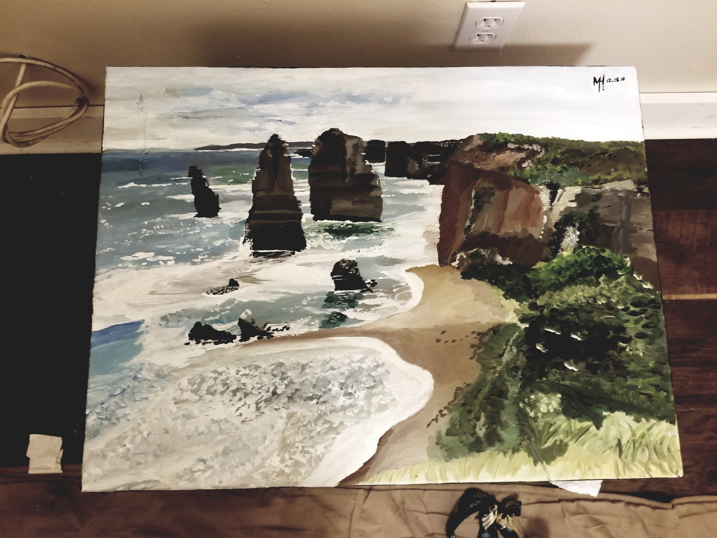 The finished product art painting project I did of the famous Twelve Apostles National Park view in Princetown, VIC Australia.